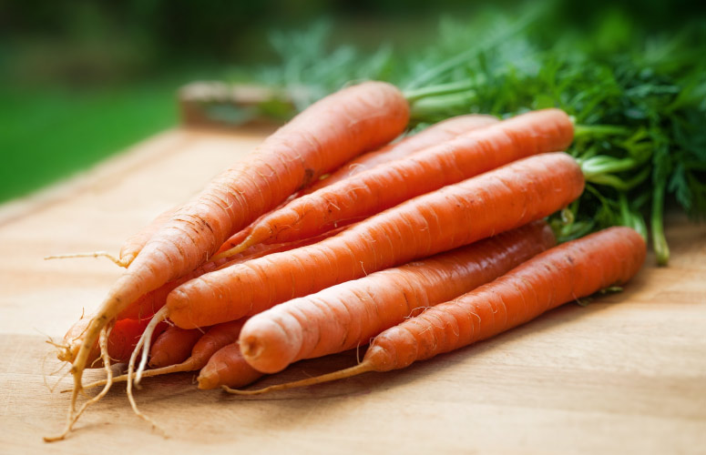 Closeup of a bundle of orange carrots with green stems on a wooden counter